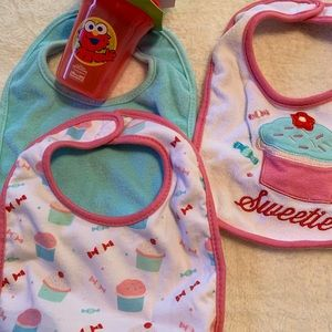 Other - Bundle of Baby Bibs and new sippy cup.